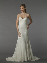 MZ2 74555  This a-line gown features a sweetheart neckline with in beaded lace. It has a chapel train and spaghetti straps.