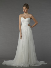 Tony Ward Anemone  This a-line gown features a v-neck neckline with a natural waist in chiffon and beaded lace. It has a chapel train.