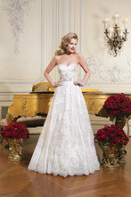Style 8766 Chantilly lace ball gown emphasized with a sweetheart neckline