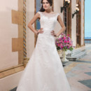 Sincerity Style No. 3822  Tulle, alencon lace, beaded lace A-line dress emphasized with a Sabrina neckline