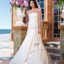 Sincerity Style No. 3824  Regal satin A-line dress adorned with a strapless neckline