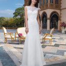 Sincerity Style No. 3826  Alencon lace, satin faced chiffon fit and flare dress accented by a Sabrina neckline