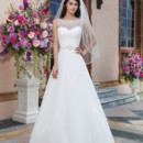 Sincerity Style No. 3827  Chiffon A-line dress embellished with a Sabrina neckline
