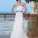 Sincerity Style No. 3833  Tulle, alencon lace,and venice lace A-line dress adorned by a strapless neckline