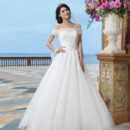 Sincerity Style No. 3836  Chiffon, alencon lace ball gown embellished by an off the shoulder neckline