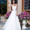 Sincerity Style No. 3838  Organza, matte satin, embroidered lace ball gown highlighted by a sweetheart neckline