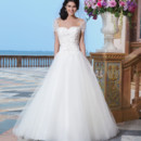 Sincerity Style No. 3840  Tulle, corded lace, beaded lace ball gown complemented by a sweetheart neckline