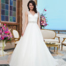 Sincerity Style No. 3843  Tulle, beading ball gown accented by a V-neck