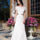 Sincerity Style No. 3844  Cotton chantilly lace straight dress embellished with a Sabrina neckline