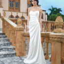 Sincerity Style No. 3847  Stretch satin straight dress emphasized by a sweetheart neckline
