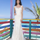 Spring 2014 Style #3785 Luscious Long Island - Two piece slim lace and tulle overlay and charmeuse slip gown. Overlay features square neckline, cap sleeves and deep V-back. Gown is finished with chapel length train and charmeuse buttons enclose the back.
