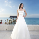 Spring 2014 Style #3786 Sensational Nassau - Matte satin A-line gown features beaded trim around scoop tank neckline and natural waist. Style features a V- back with satin buttons that cover the back zipper and continue to the edge of the chapel length train. Available with a lace up back as style 3769.