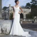 Style #3736 Lace cap sleeves accent the chiffon cowl neckline on this draped modified mermaid gown. The back neckline has a lace criss-cross and the style has a semi chapel length train.