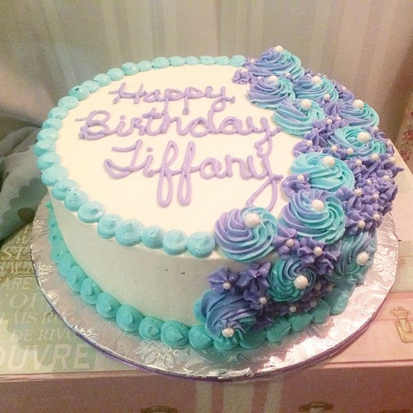 1428367139708 Purple Blue Flowers Bday Cake Tampa wedding cake