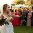 The bride gets her hand at hawk-taming!