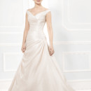 Ellis Bridal 12203  Off the shoulder luxe satin A line with pleated waist and flowing skirt