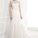 Ellis Bridals 19033 Super soft tulle skirt with delicate lace overlaid top and floral belt