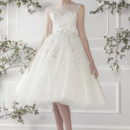 Ellis Bridals 11411 Charming knee Length soft tulle dress with embroidered silver lace and delicate satin bow belt.