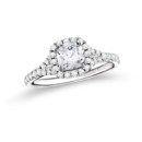 NZ1002H  18K white gold mounting with 0.40 ct.tw round cut diamonds