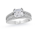 NZ1010  18K white gold mounting with 0.86 ct.tw round cut diamonds