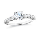 NZ1012  18K white gold mounting with 0.63 ct.tw round cut diamonds