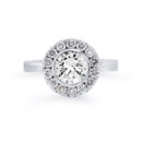 NZ1015  18K white gold mounting with 0.71 ct.tw round and princess cut diamonds