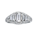 NZ1027  18K white gold mounting with 0.98 ct.tw round cut diamonds