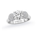 NZ1035  18K white gold mounting with 0.41 ct.tw round cut diamonds
