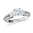 NZ1046  18K white gold mounting with 0.55 ct.tw round cut diamonds