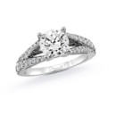 NZ1048  18K white gold mounting with 0.51 ct.tw round cut diamonds
