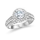 NZ1052  18K white gold mounting with 1.18 ct.tw round and princess cut diamonds