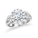 NZ1057  18K white gold mounting with 1.22 ct.tw round cut diamonds