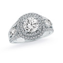 NZ1060  18K white gold mounting with 1.26 ct.tw pear shape and round cut diamonds