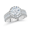 NZ1068H  18K white gold mounting with round and baguette cut diamonds