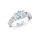 NZ1092  18K white gold mounting with 0.91 ct.tw round cut diamonds