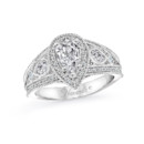NZ1094P  18K white gold mounting with 0.64 ct.tw round, pear and princess cut diamonds