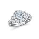 NZ10101  18K white gold mounting with bezel set round cut diamonds