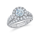 NZ10102  18K white gold mounting with round cut diamonds