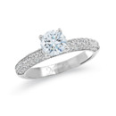 NZ10104  18K white gold mounting with round cut diamonds