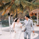 Venue: Sugar Beach  Bride's Gown: Austin Scarlett, from Kleinfeld Bridal  Bride's Shoes: Betsey Johnson  Jewelry: Ti Adoro  Groom's Attire: Michael Andrews Bespoke