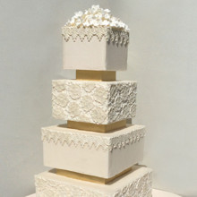 220x220 sq 1425354493923 gold on white lace wedding cake