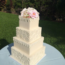 220x220 sq 1425385311850 romantic lace wedding cake off wite