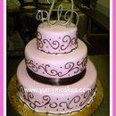 130x130 sq 1236612730516 pinkandchocolatebrownweddingcake