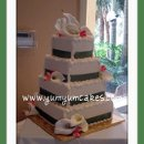 130x130 sq 1277832714567 4tiersquarecallalillysageribbonweddingcake