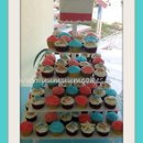 130x130 sq 1312149313454 27.seashellcoralandblueweddingcupcakestree