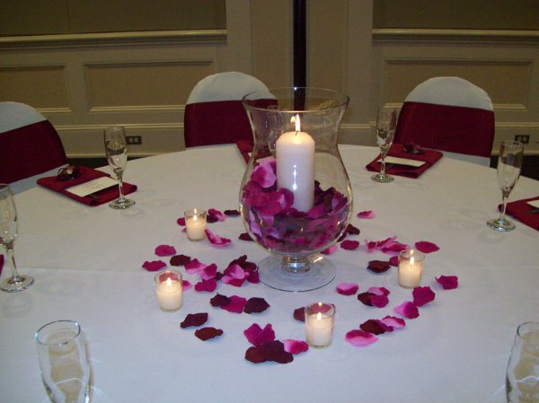 Burgundy ivory pink centerpiece centerpieces fall indoor