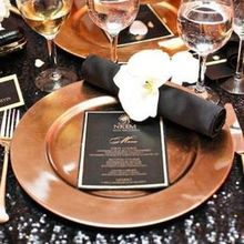 220x220 sq 1470331430 304a52032522b7a9 black and gold tablescape 1