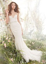 Style JH8410  Ivory Champagne Chantilly lace Fit and Flare bridal gown, strapless sweetheart neckline, crystal embroidered belt at natural waist, gored skirt, chapel train.