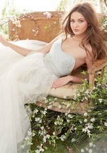 Style JH8415  Ivory/Cloud Tulle Bridal Ball gown, strapless sweetheart crisscross bodice, crystal embroidery at waist, chapel train.
