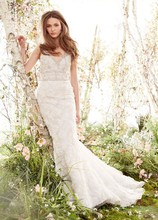 Style JH8414  Ivory Cashmere petal Chantilly lace Trumpet bridal gown, V-neckline front and back, crystal embroidered bodice accented at natural waist, chapel train.